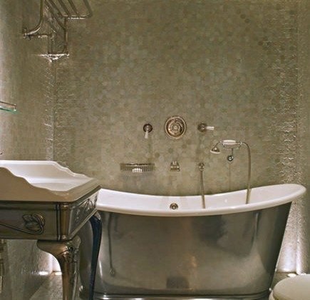 silver bathtub - slipper tub with matching console sink in a Max Rollitt bathroom via Atticmag