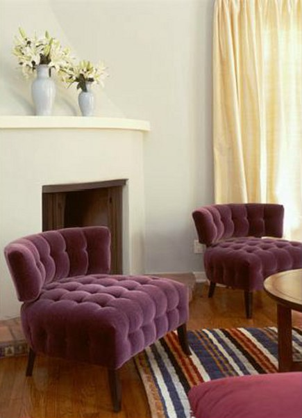 purple chairs - plum velvet tufted klismos chairs - Pinterest via Atticmag