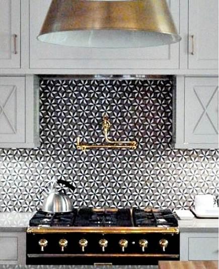 Patterned tile backsplashes - Sonja La Fleur stone mosaic tile backsplash - Walker Zanger via Atticmag