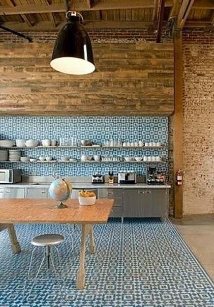 patterned tile backsplashes - all over Original Mission Tile Liverpool pattern on a loft kitchen backsplash and floor - via Atticmag