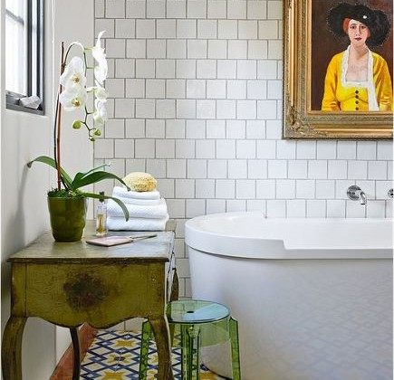 dark grout white tile - traditional bath with white square field tile, darkly grouted - La Maison Boheme via Atticmag