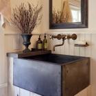 basin sinks - dark square basin sink used on a bead board bathroom vanity - Brian van den Brink via Atticmag