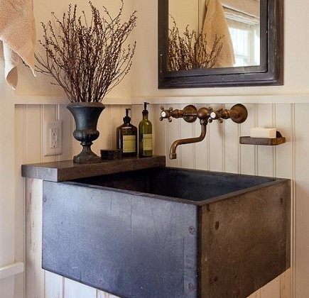 basin sinks - dark square basin sink used on a bead board bathroom vanity - Brian van den Brink via Atticmag