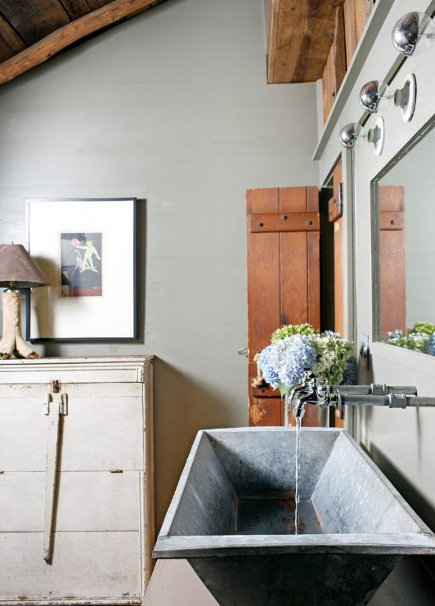 basin sinks - salvage sheet metal trough used as a bathroom sink - Atlanta Homes and Lifestyles