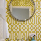 wallpapered powder rooms - Powder room with Kelly Wearstler Imperial Trellis wallpaper by Schumacher - via Atticmag