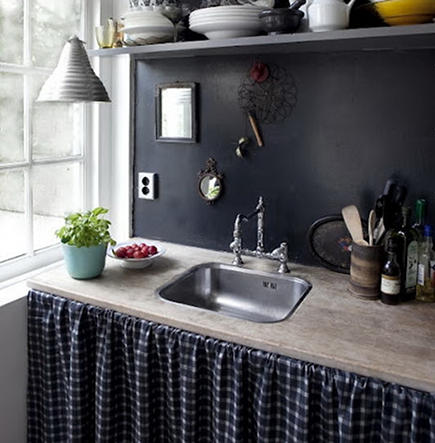 black and white tile - wooden sink counter with black and white gingham skirted base cabinet of black and white patterned kitchen - Foxtrotter via Atticmag
