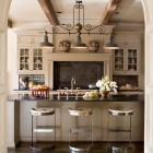 black kitchen backsplash - white kitchen with black rustic tile backsplash - Southern Accents via Atticmag