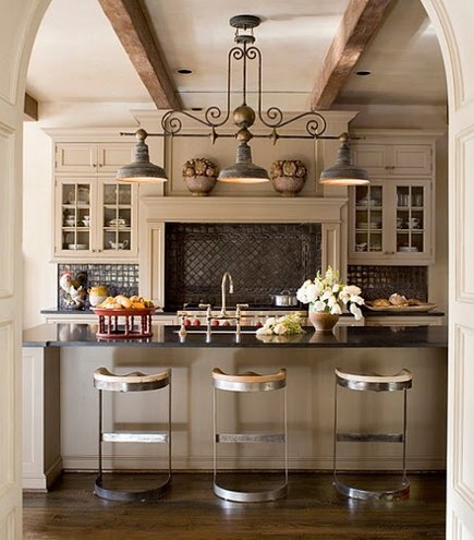 Black Kitchen Backsplash   White Kitchen With Black Rustic Tile Backsplash    Southern Accents Via Atticmag