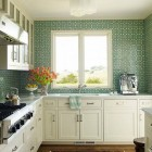 green kitchens - shamrock green and white patterned tile from Mosaic House in a white kitchen - Katie Ridder via Atticmag