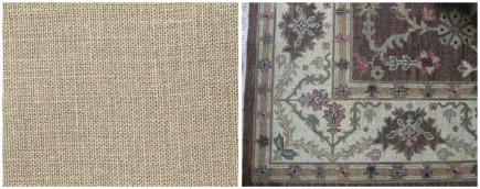 Restoration Hardware Belgian linen curtains and Soumak rug details - atticmag