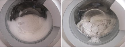 laundry soap test - contrasting suds levels in my front loader with Mrs. Meyers and The Laundress - Atticmag
