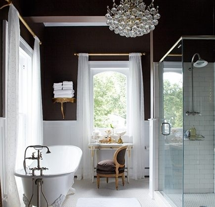 chocolate brown bath - Annie Brahler chocolate wall paint with white tile from House Beautiful via Atticmag
