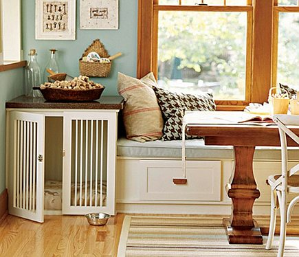 pet built ins - custom end table dog crate with wood spindle doors - house of turquoise via Atticmag