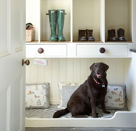 pet built ins- dog bed in mudroom - home klondike via atticmag