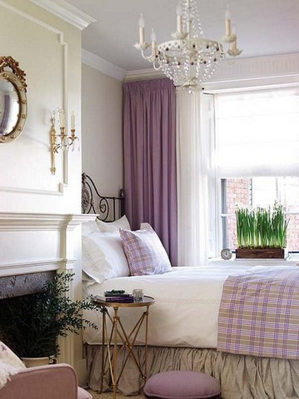lavender bedrooms - solid lavender curtains and check coverlet and throw pillow - pinterest via atticmag