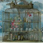 birdcage motif - vintage style shelved bird cage cabinet - An Angel at My Table via Atticmag