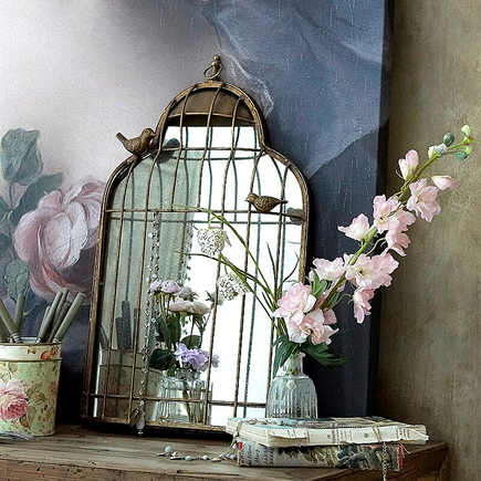 birdcage motif - antiqued mirrored back bird cage wall décor - An Angel at My Table via Atticmag