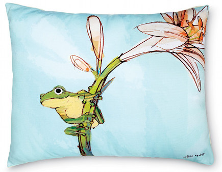 outdoor pillows - hand printed outdoor pillow with frog by Robbin Rawllings - Charleston Gardens via Atticmag