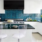 patterned tile - turquoise and black damask Turkish Ann Sacks pattern tile - House Beautiful via Atticmag
