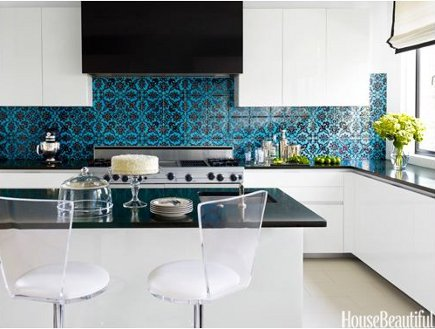 patterned tile - turquoise and black damask pattern turkish tile from Ann Sacks - House Beautiful via Atticmag