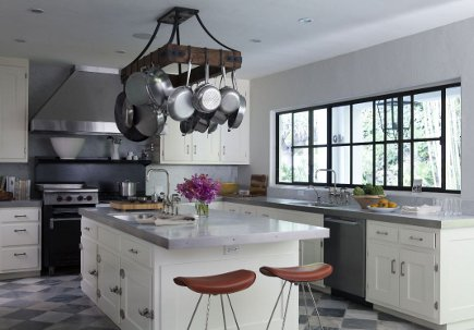 kitchen stool style - leather-top bar stools in a white and gray kitchen - nate berkus via atticmag