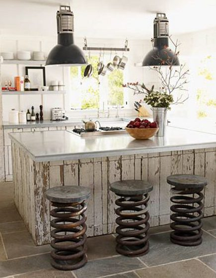 kitchen stool style - salvage style counter stools with heavy-duty spring bases - pinterest via atticmag