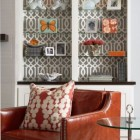 pattern - taupe and white Chinoiserie wallpaper behind living room glass bookcase shelves - O Hara Interiors via Atticmag