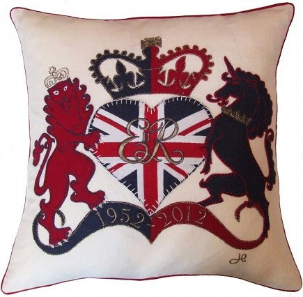 Union Jack decor - Lion and Unicorn rampant with Union Jack motif in a pillow - Jan Constantine via Atticmag