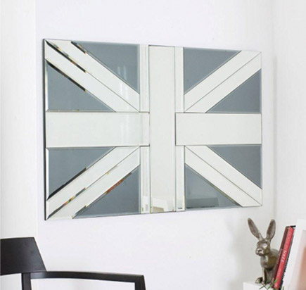union jack flag - Union Jack motif in a wall mirror -Not On the High Street.com via Atticmag