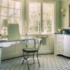 mosaic floor tile - bathroom with black and white faux-subway mosaic tile floor - Madeline Stuart via Atticmag