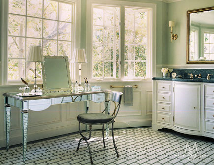 mosaic floor tile - bathroom with black and white faux-subway mosaic tile floor - Madeline Stuart via Atticmag