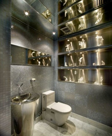 bathroom task lighting - powder room with a variety of task lighting reflected by a mirrored ceiling - Pepe Calderin via Atticmag