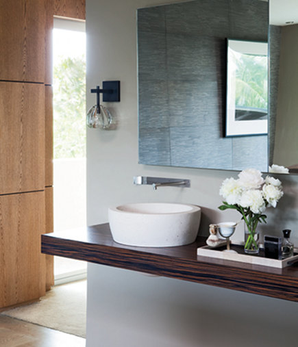 wet room - floating Macassar ebony bathroom counter with Boffi sinks - Elle Decor via Atticmag