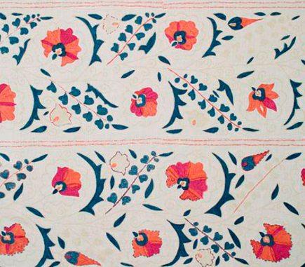 suzani textiles - suzani-print linen fabric - Robert Kime via Aticmag