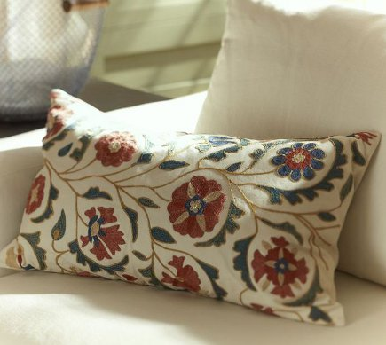 suzani textiles - lumbar size suzani sofa pillow - Pottery Barn via Atticmag