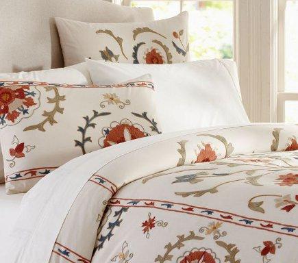 suzani textiles - suzani pattern bedding - Pottery Barn via Atticmag