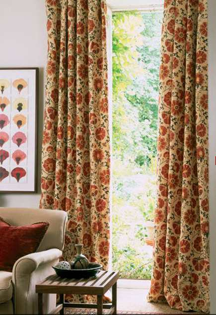 suzani textiles - Curtains made from Zarafshan suzani linen fabric- Lewis & Wood via Atticmag