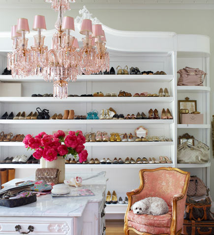 Shoe Closet   Storage In An Expanded Armoire Built In And Painted White    House Beautiful