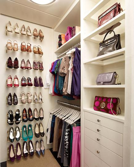 shoe closet - closet with shoe rails for storage mounted on a wall - decorpad via atticmag