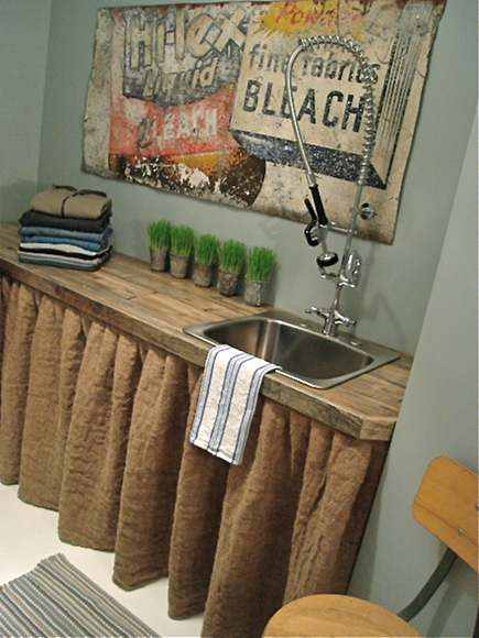 country cottage laundry room with skirted counter from Patina White via Atticmag