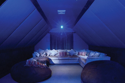 attic spaces - home movie theater by Electronic Home via Atticmag
