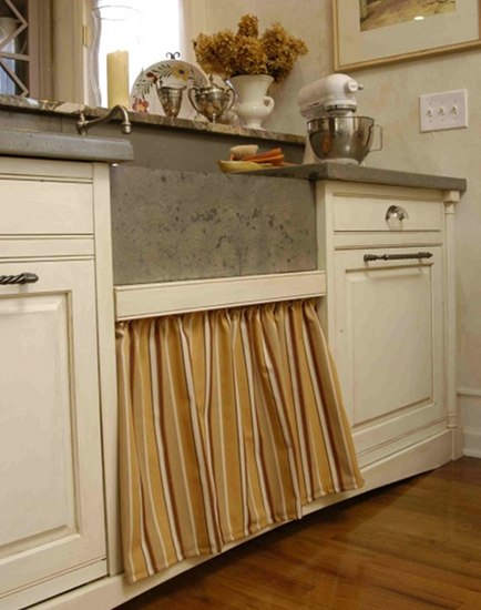 A Fabric Skirt Conceals Clever Kitchen Base Cabinet Sink Drawer Idea