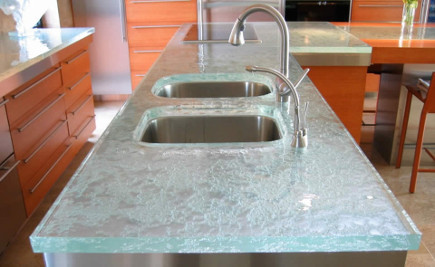 Glass Countertops   Textured Glass Counter With Polished Edges   ThinkGlass  Via Atticmag