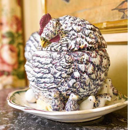 brooke astor estate auction rooster form ceramic tureen from the estate of Brook Astor - sotheby's via atticmag