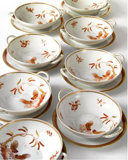 Brooke Astor estate auction - Richard Ginori Fighting Cock cream soup bowls and saucers from the estate of Brooke Astor - Sotheby's via Atticmag