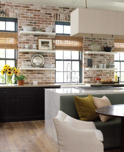Exposed Brick Kitchen Walls Reclaimed Style Wall In A Texas Bella Casa