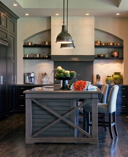 crossbuck motif on the end of a kitchen island - canadian house and home via atticmag