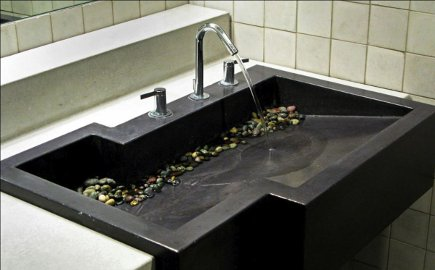 bathroom sink - asymmetrical black concrete custom bath sink from elements artisan concrete via Atticmag