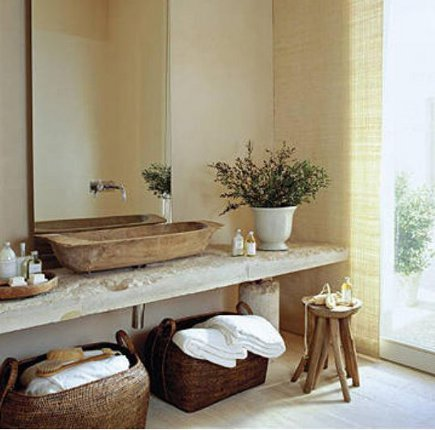 bathroom sink - trough vessel sink on a rough stone vanity in a house in Majorca -casatreschic via atticmag