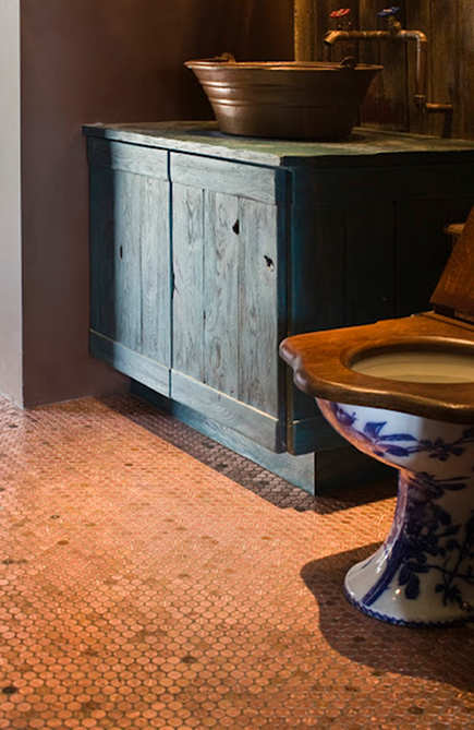 Penny Mosaic Tiles - Copper penny floor grout